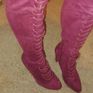 Shoes - Wine Thigh high boots